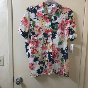 Alfred Dunner Fl oral Button Up Blouse Size L